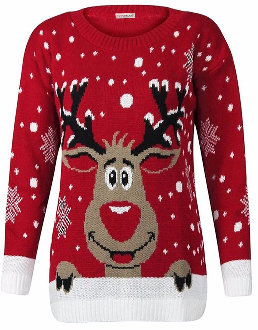 Renee Rudolph Reindeer Knitted Xmas Christmas Jumper Red
