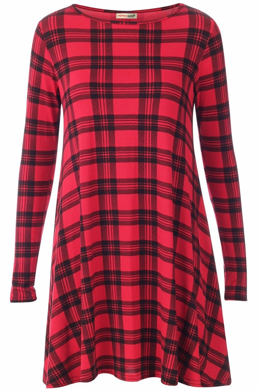 Catherine Check Tartan Print Stylish Swing Dress Red