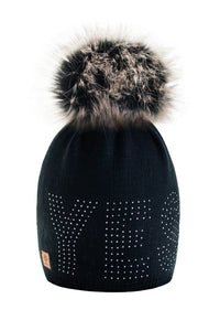 Kniteted Beanie Hat Winter Warm Wooly Unisex Ladies Ski Skull Cap Fleece Pom Pom