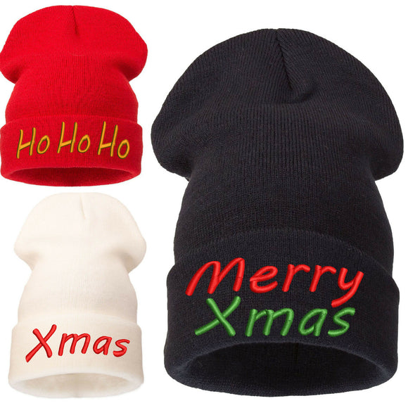 Adult Kids Ho Ho Ho Xmas Green Christmas Fancy Dress Xmas Party Santa Beanie Hat
