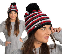 Unisex Winter Beanie Hat Wool Knitted CRYSTAL Ladies Fashion Large Pom Pom
