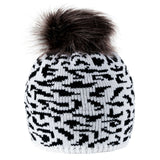 Women Winter Beanie Hat Knitted Panther Ladies Fashion Large Pom Pom Gift Pa