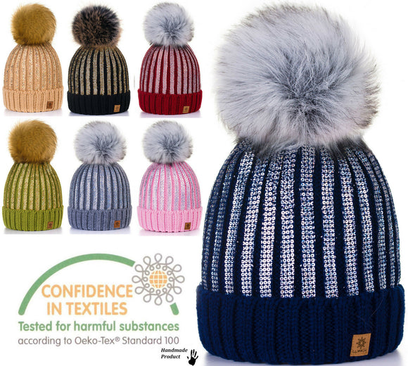 Women Men Winter Beanie Hat Knitted Ladies Fashion Large Pom Pom Gold Circle 1