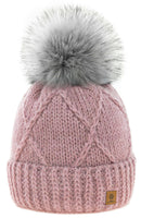 Womens Beanie & Scarf Faux Pom Pom Warm Winter Natural Wool Mohair & Micropolar
