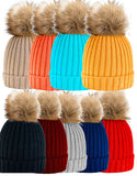 Womens Kids Warm Winter Wool Knit Beanie Large Fur Pom Bobble Hat Knitted Ski 1