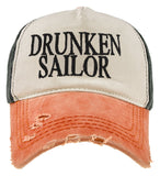 Cotton Ancient Mariner Captain Cabin Boy Crew Baseball Cap Yachting Orange Black