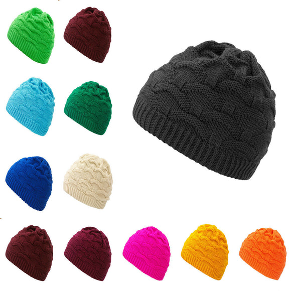 Mens Womens Cable Knitted Bobble Hat Plain Beanie Very Warm Winter Wooly Cap