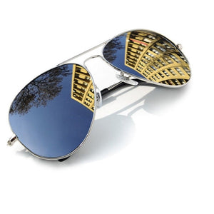 Pilot Sunglasses Silver Mirrored Lens Mens Ladies Classic Fashion UV400 Round
