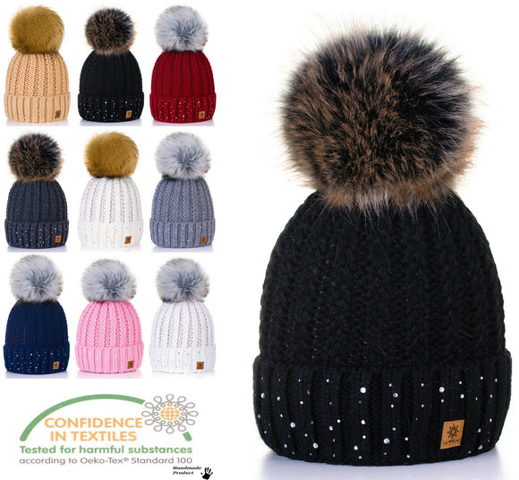 Women Winter Beanie Hat Knitted Little Crystal Ladies Fashion Large Pom Pom