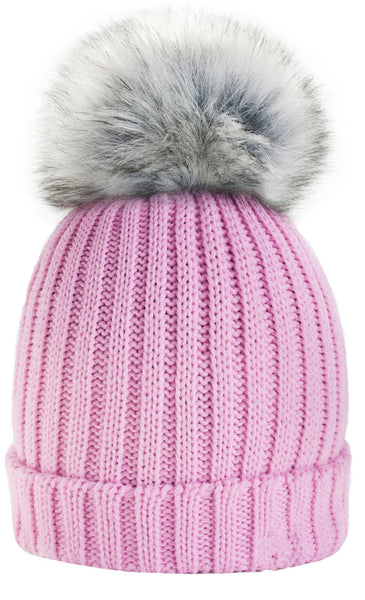 Womens Winter Ladies Crochet Beanie Pom Bobble Ski Cap Knit Hat 1