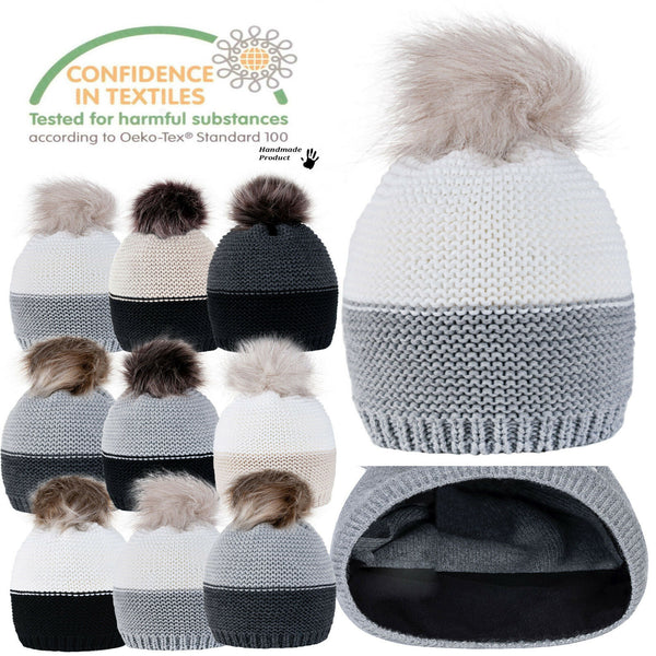 Women Winter Beanie Hat Knitted CRYSTAL Ladies Fashion Large Pom Pom Gifts C