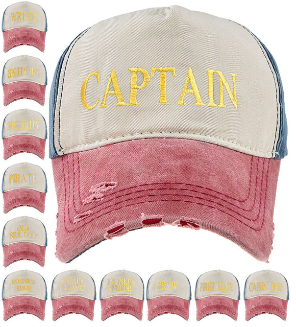 Baseball Cap Cottton Adjustable Strap Captain Yachting Summer Hat Navy Red Gold