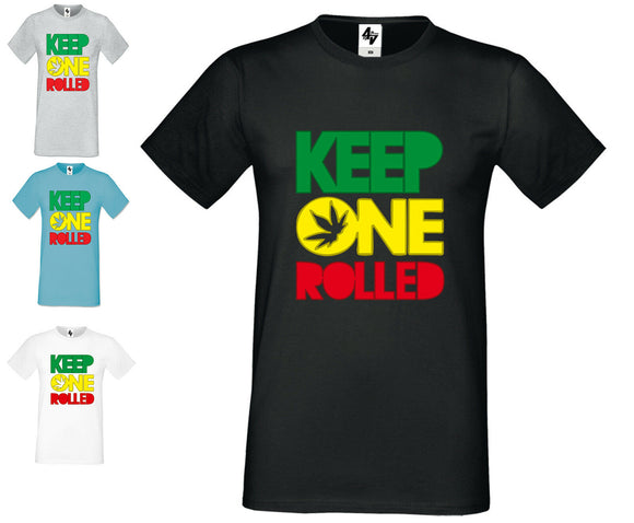 Mens Designer Keep One Rolled Fashion Short Sleeve T Shirt  Crew Neck Ganja