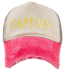 Baseball Cap Cottton Strap Unisex Summer Hat Beige Pink Gold Captain Yachting