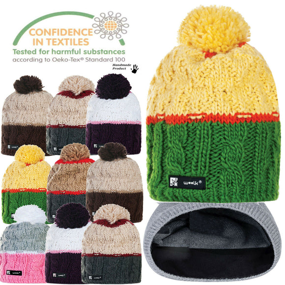 Women Winter Beanie Hat Knitted CRYSTAL Ladies Fashion Large Pom Pom Gift Ea