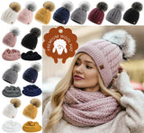 Women's Ladies Beanie Scarf & Hat Pom Pom Warm Winter Natural Wool Mohair Lining Full Cosy Fleece Liner