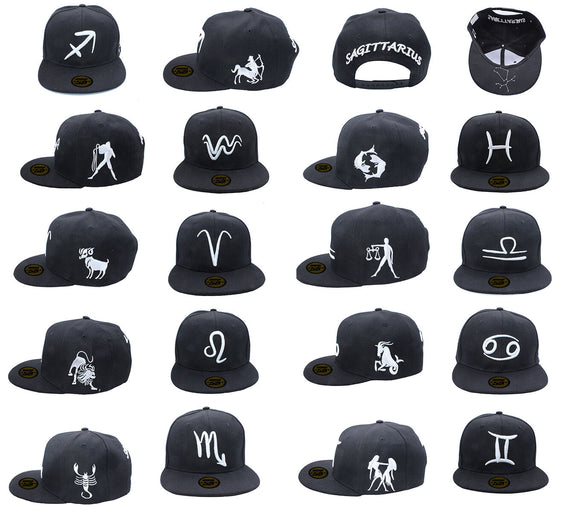 Baseball Cap Hat  Zodiac 12 Constellation Hip Hop Snapback  logos black white