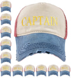 Baseball Cap Cottton Adjustable Strap Captain Yachting Summer Hat Red Navy Gold