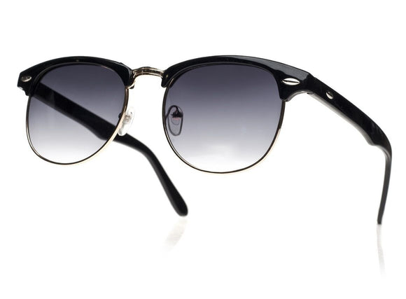 Unisex Women Men Sunglasses New Classic Round 1980's Full UV400 Black Gold