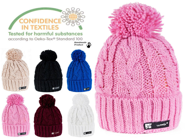 Women Winter Beanie Hat Knitted CRYSTAL Ladies Fashion Pom Pom Gifts IR