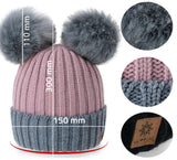 Women Winter Beanie Hat Knitted Miki Ladies Fashion Large 2 Pom Pom Gold Circle