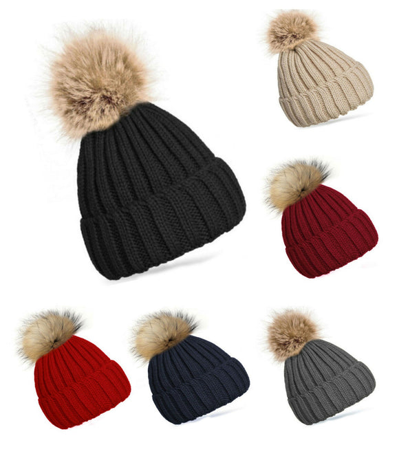 Kniteted Beanie Hat Winter Warm Wooly Mens Ladies Ski Skull Cap Pom Pom