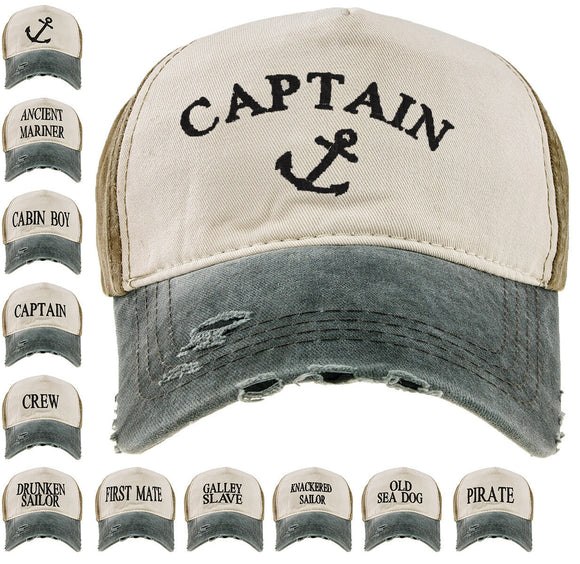Baseball Cap Cottton Adjustable Strap Boys Mens Summer Hat Yachting Captain