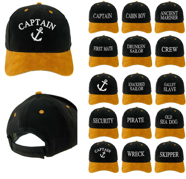 Captain Baseball Cotton Mens Women Family Black Gold Cap Officers Captain White