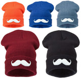 Unisex Kniteted Beanie Hat Winter Warm Wooly Mens Kids Ladies Ski Skull Mustache
