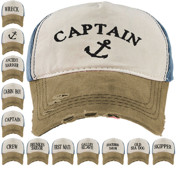Baseball Cap Captain Cottton Adjustable Strap Boys Mens Summer Hat Navy Sea