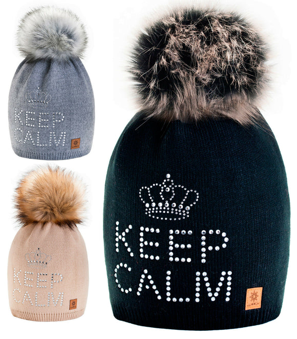 Mens Womens Cable Knitted Bobble Hat Beanie Very Warm Winter Pom Wooly Cap Kee