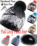 Unisex Beanie Warm Winter Fliper Knitted Bobble Hat Plain Ski Pom Wooly Liner