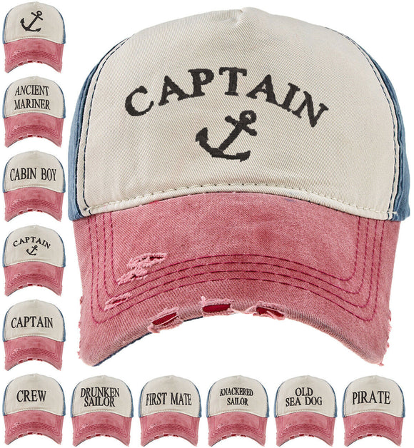 Baseball Cap Cottton Adjustable Strap Captain Yachting Summer Hat Navy Red