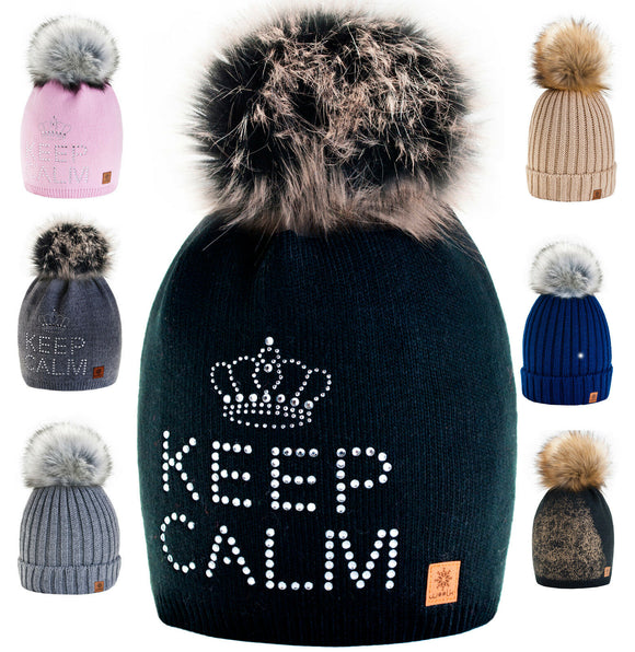 Women Men Winter Ladies Hat Crochet Oversized Beanie Fashion Large Pom Pom Gift