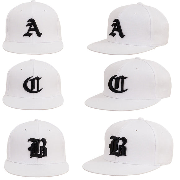 Men Women Casual White Snap Back Cap BASEBALL HAT SNAPBACK Black Gothic A B C la