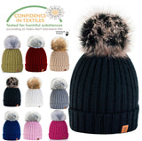 Womens Knitted Ski Cap Warm Winter Wool Knit Beanie Hat Large Faux Pom Bobble 1