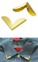 2 Pieces Blouse Shirt Metallic Metal Pointed Collar Clips Wing Tips nr 15