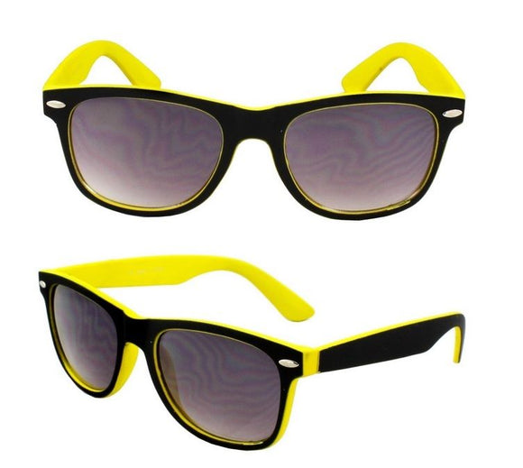 New Unisex Mens Ladies Yellow Black Sunglesses Shades Fashion Retro Vintage
