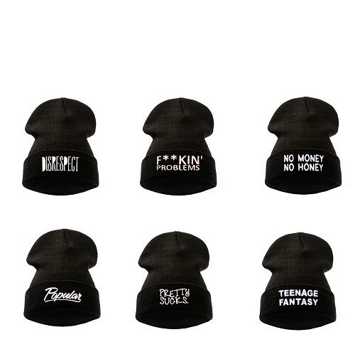 BEANIE HATS WOOLY WINTER DISOBEY WASTED YOUTH BLACK  GEEK ONE SIZE