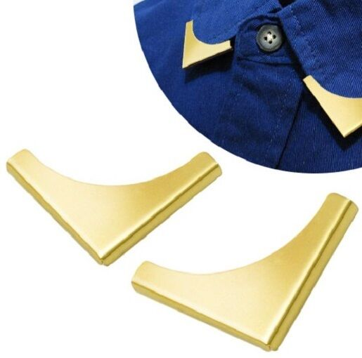 2 Pieces Blouse Shirt Metallic Metal Pointed Collar Clips Wing Tips nr 5