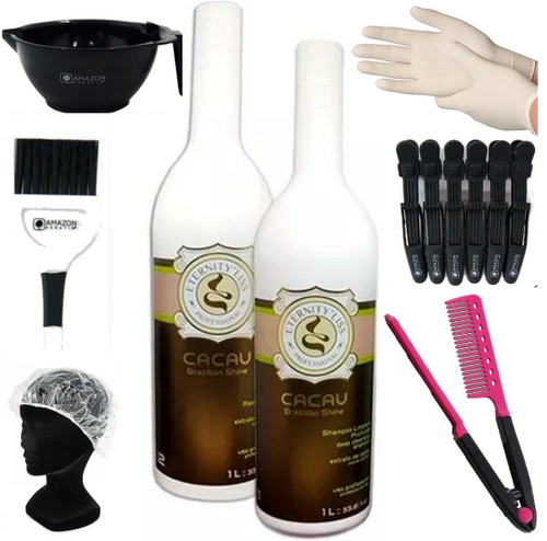 Kit Lissage Brésilien Keratine Eternity Liss Cacau 2*1000 ml