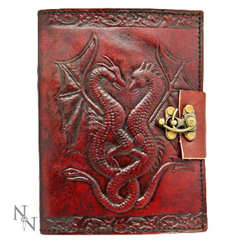 Double Dragon Leather Embossed Lock Journal (AW522)