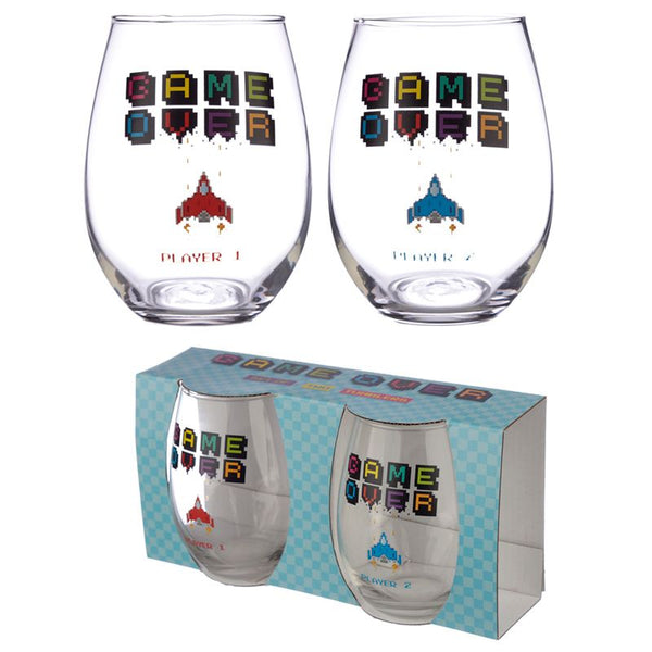 Game Over Set of 2 Glass Tumblers