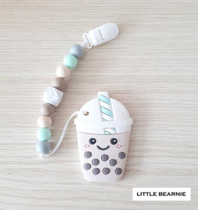 Little Bearnie Modern Baby Teether Clip Set - Smiley Boba Tea
