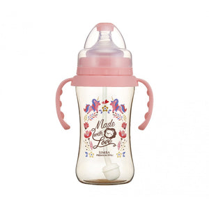 270ml Dorothy Wonderland PPSU Wide Neck Feeding Bottle With Auto Straw And Handle (Unicorn)