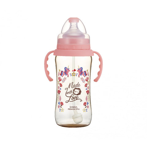 360ml Dorothy Wonderland PPSU Wide Neck Feeding Bottle With Auto Straw And Handle (Unicorn)