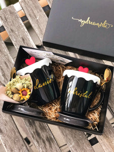 [BUNDLE] : Couple Black/Black Double Wall Stainless Steel Mug + Spoon + Sliding Lid