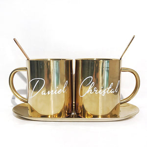 Couple Luxe Gold Stainless Steel Mugs + Spoon (NO Tray)