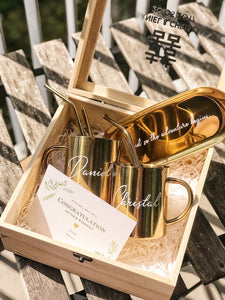 [BUNDLE] : Couple Custom Wooden Box + Luxe Gold Stainless Steel Mugs + w/wo Tray + Spoon