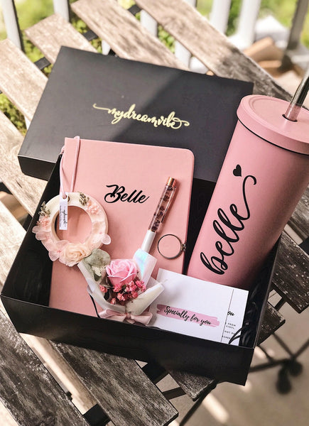 [BUNDLE] : 750ml Bubble Tea Tumbler + A5 PU Leather Notebook + Hollow Scented Wax Tablet [FREE ROSE GOLD FLORAL PEN while stocks last!]